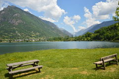 Eriste Lake one morning in june some clouds Royalty Free Stock Photos
