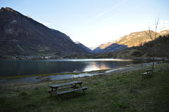Eriste one morning in april a place to sit down and enjoy Stock Photos