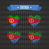 eritrea Собрание 4 сердец вектора с флагом Силуэт сердца иллюстрация штока