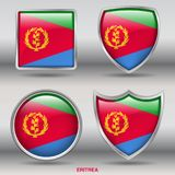 Eritrea Flag in 4 shapes collection with clipping path stock images