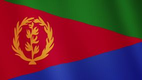 Eritrea flag waving animation. Full Screen. Symbol of the country. stock illustration