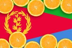 Eritrea flagga i citrusfruktskivahorisontalram arkivbilder