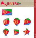 Eritrea flaggauppsättning, flaggauppsättning #74 royaltyfri illustrationer
