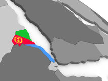 Eritrea on globe with flag Royalty Free Stock Photos