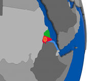 Eritrea on globe with flag Stock Images