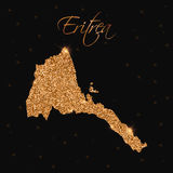 Eritrea map filled with golden glitter. Stock Image