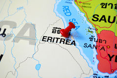Eritrea map. Macro shot of eritrea map with push pin Royalty Free Stock Photo