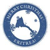 Eritrea map. Vintage Merry Christmas Eritrea. Royalty Free Stock Photography