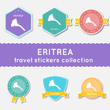 Eritrea travel stickers collection. Big set of stickers with US state map and name. Flat material style badges vector illustration Stock Images