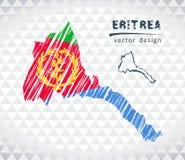 Eritrea vektoröversikt med flaggainsidan som isoleras på en vit bakgrund Skissa drog illustrationen för krita handen royaltyfri illustrationer
