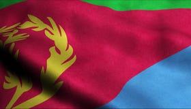 Eritrea vinkande flagga i 3D vektor illustrationer