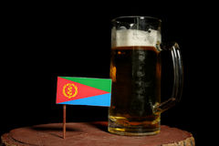 Eritrean flag with beer mug isolated on black Royalty Free Stock Photos