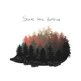 Erizo con las canillas como árboles de pino Un illustra dibujado mano del vector imagen de archivo libre de regalías