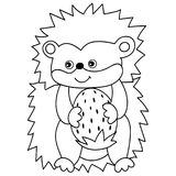 Erizo lindo de la historieta del vector con la fresa Imagen de archivo libre de regalías