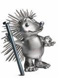 Erizo que sostiene un perno y una nuez símbolo del hardware Fotografía de archivo libre de regalías