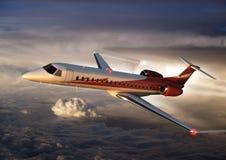 ERJ145 cruising at altitude. An ERJ145 regional jet cruising at altitude Royalty Free Stock Image