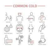 Erkältung Grippe-Saison Symptome, Behandlung stock abbildung