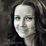 Erkännande av den kvinnliga framsidan Biometric verifikation och ID royaltyfri bild