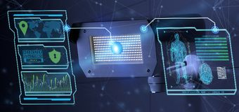 Erkenning en opsporingssoftware op een systeem van de veiligheidscamera - Stock Afbeeldingen