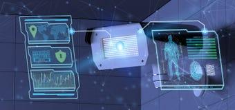 Erkenning en opsporingssoftware op een systeem van de veiligheidscamera - Stock Foto's