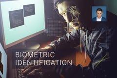 Erkenning van mannelijk gezicht Biometrische controle en identificatie Royalty-vrije Stock Afbeelding