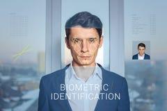 Erkenning van mannelijk gezicht Biometrische controle en identificatie Royalty-vrije Stock Fotografie