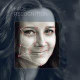 Erkenning van vrouwelijk gezicht Biometrische controle en identificatie stock afbeelding