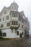Erker-vensters in St Gallen Stock Afbeeldingen