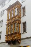 Erker-vensters in St Gallen Stock Afbeelding