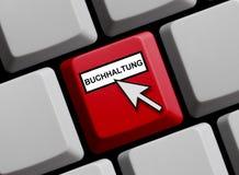 Erklärender on-line-Deutscher Stockfoto