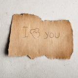 Erklärung der Liebe auf Blatt. Stockbild