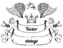 Erklimmen Sie mit Weinleseartgestaltungselementen, Gebrauch für Logo, Rahmen Lizenzfreies Stockfoto