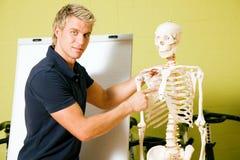 Erklären der grundlegenden Anatomie in der Gymnastik Lizenzfreies Stockfoto