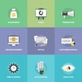 Erklären und flache Ikonen investierend Stockbild