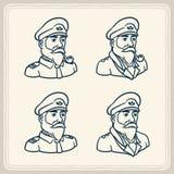 Erläuterte bärtige Bootskapitänikonen Stockbilder