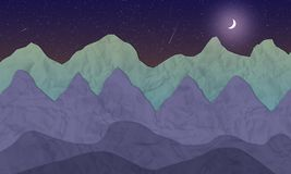 Erläuterte Nachtberglandschaft mit Mond und Sternen lizenzfreie abbildung