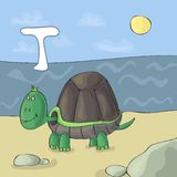 Erläuterter Alphabetbuchstabe T und Schildkröte ABC-Buchbild-Vektorkarikatur Schildkröte auf dem Strand durch das Meer Kinder ver stock abbildung