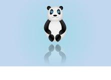 Erläuterter Panda auf farbigem Hintergrund Stockfotografie