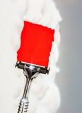 Erläuterter Rasiermesser- und rasierenschaum Stockfotografie