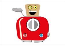 Erläuterter roter Toaster, wenn die Scheibe des Toasts Bewegung zeigt, a Stockfotos