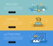 Erleichtern Sie zu lernen und zu unterrichten Vektorfahnen eingestellt Lizenzfreies Stockfoto
