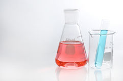 Erlenmeyer flask and tube Royalty Free Stock Images