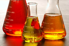 erlenmeyer flasks lab research science 免版税图库摄影