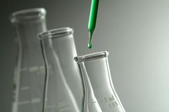 Erlenmeyer Flasks in Science Research Lab Royalty Free Stock Photos