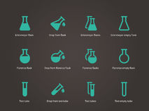 Erlenmeyer and florence flasks icons set. Stock Photography