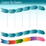 Erlernen Sie, Plättchen zu schwimmen Stockfotos