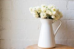 Erlicheer daffodils in white jug Stock Photos