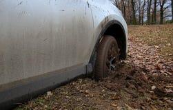 Ermüden Sie auf dem Vorderrad von SUV-Auto verpackt mit Schlamm Stockbilder