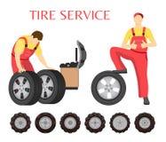 Ermüden Sie Service, Vektor-Emblem, in der Karikatur-Art stock abbildung