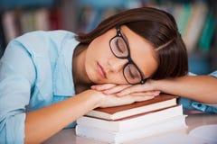 Ermüdet vom Studieren Stockbilder